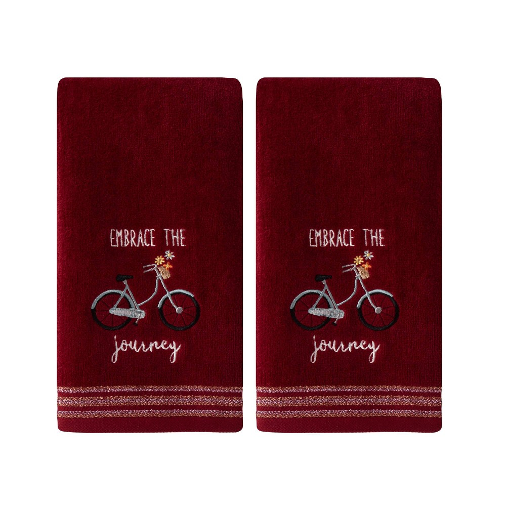 Image of 2pc Embrace The Journey Hand Towel Set Burgundy - SKL Home, Red