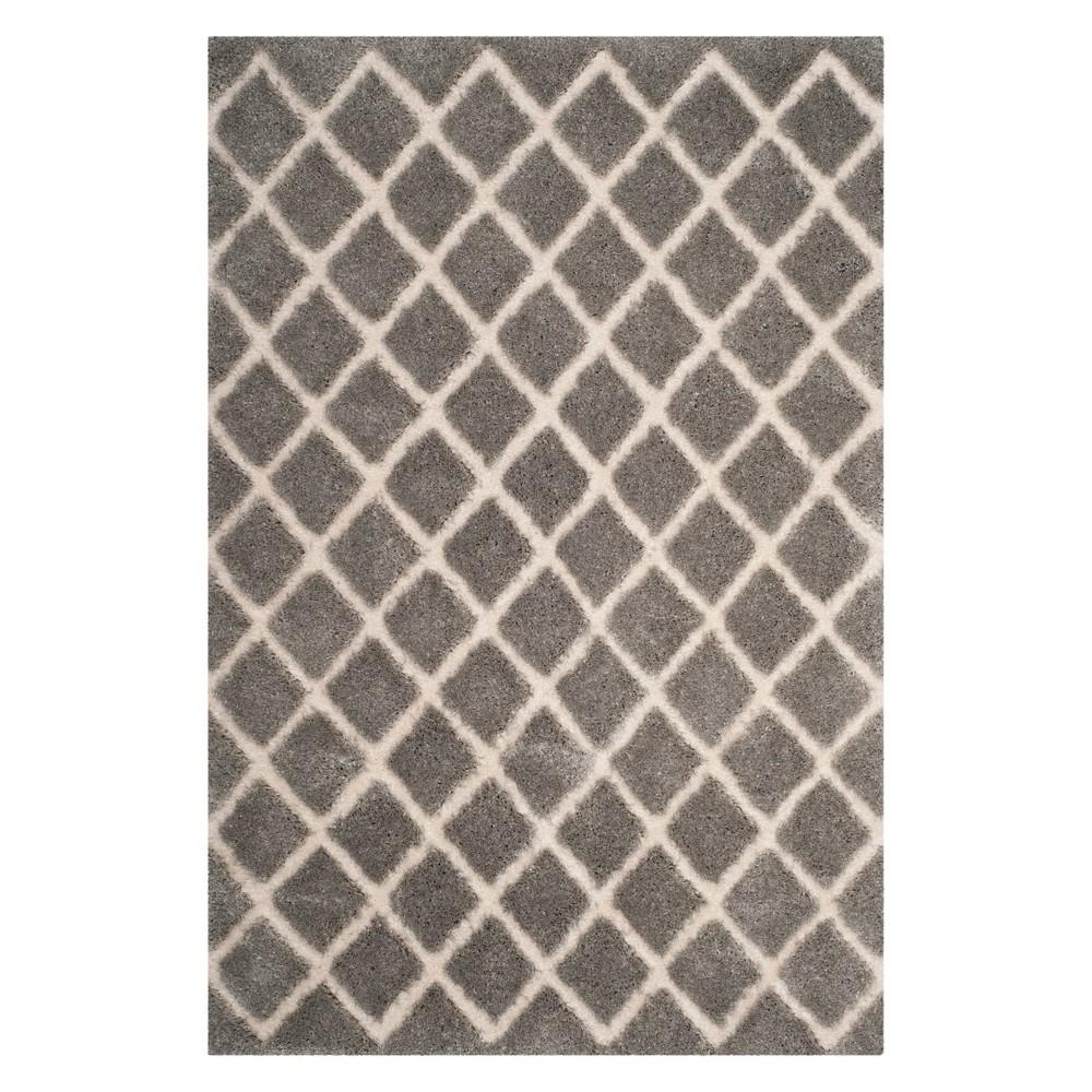 6'X9' Crosshatch Loomed Area Rug Light Gray/Cream (Light Gray/Ivory) - Safavieh