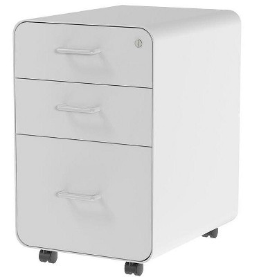 Monoprice Round Corner 3-Drawer File Cabinet - White With Lockable Drawer - Workstream Collection