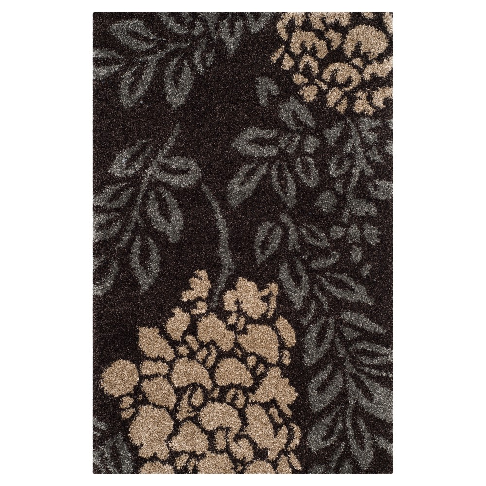 Dark Brown/Gray Botanical Loomed Area Rug - (5'3