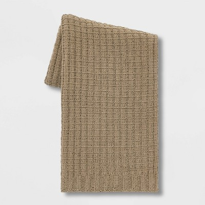 Solid Chenille Throw Blanket Brown - Threshold™