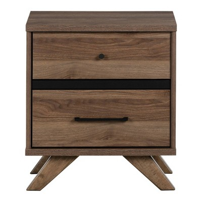 Flam 2 Drawer Nightstand Natural Walnut/Matte Black - South Shore