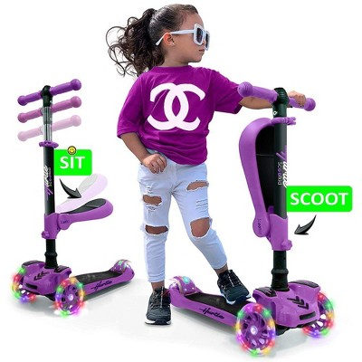 Hurtle ScootKid 3 Wheel Toddler Child Mini Ride On Toy Tricycle Scooter with Colorful LED Light Up Smooth Rolling Wheels, Purple