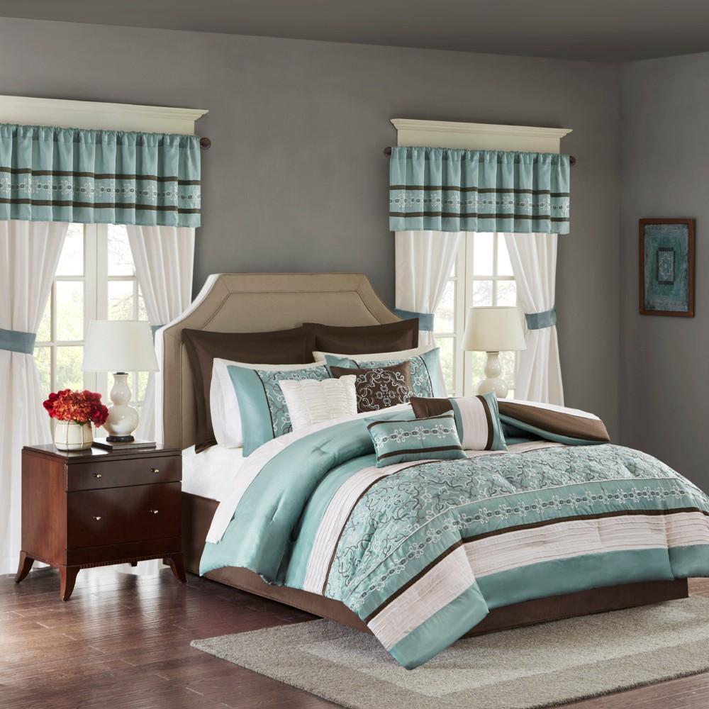 Blue Ivana Comforter Set with Embroidery (California King) 24pc, Seafoam