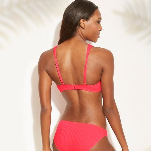d33b330c33 Women s Ribbed Cut Out Tie Front Bralette Bikini Top - Xhilaration ...