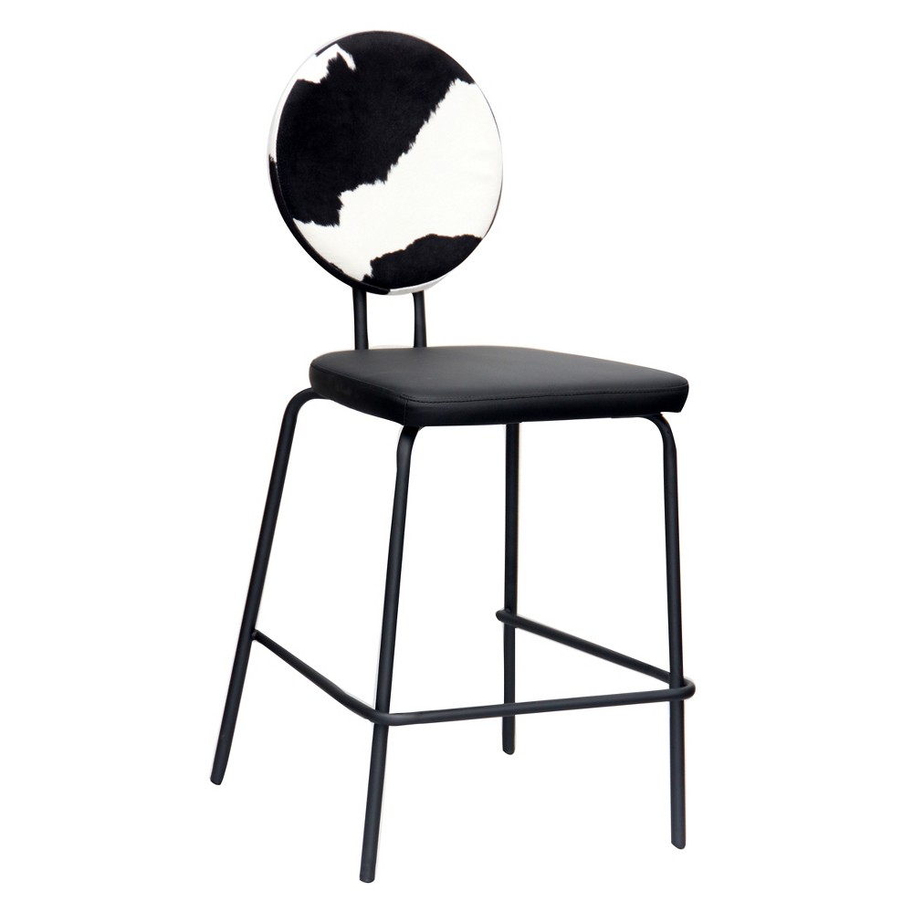 Image of Backed Upholstered Barstool Cow Print Black- Acessentials, Black