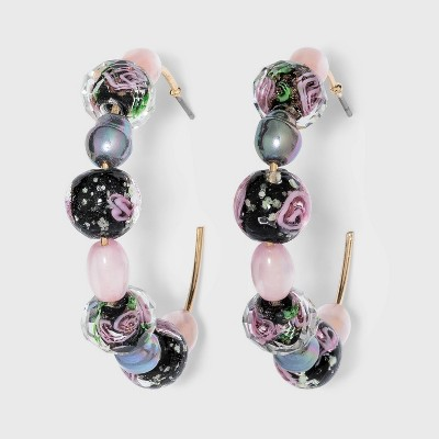 Mixed Floral Beaded Hoop Earrings - A New Day™