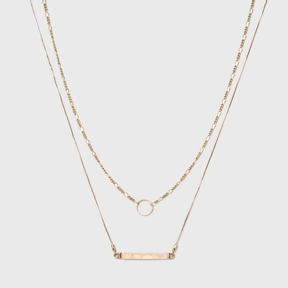 Semi Precious Short Delicate Layered Necklace - Universal Thread Light Gold
