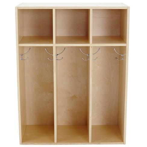 "ECR4Kids 3-Section Classroom Locker | Birch Wood Coat & Backpack Storage for Kids | Toddler 36"" H - image 1 of 5"