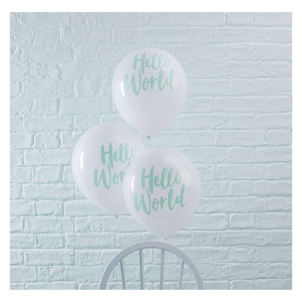 "Image of ""10ct """"Hello World"""" Party Balloons Green"""