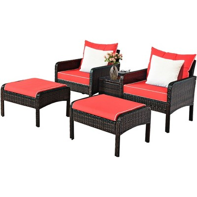 Costway 5 PCS Patio Rattan Furniture Set Sofa Ottoman Table Cushioned Yard Red