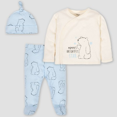 Gerber Baby Boys' 3pc Bear Take Me Home Top and Bottom Set - Cream/Blue 0-3M