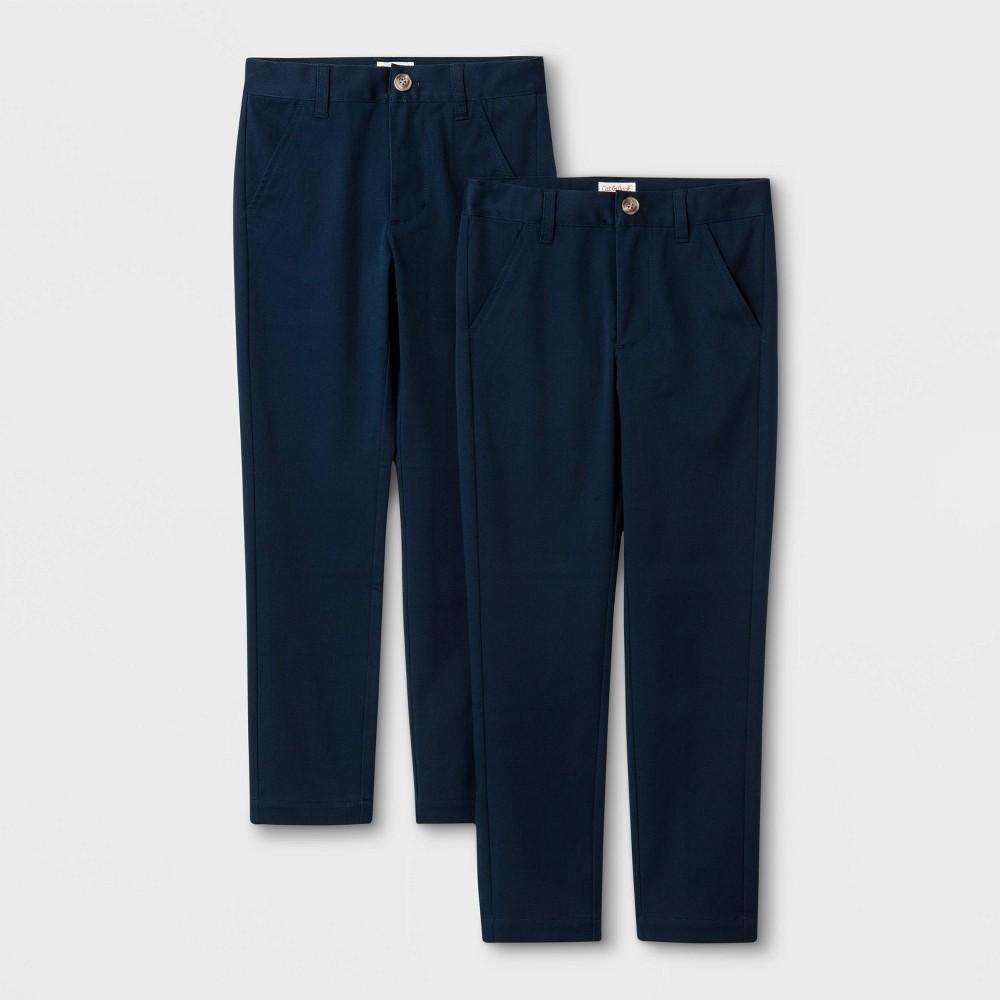 Image of Boys' 2pc Skinny Twill Uniform Chino Pants - Cat & Jack Navy 10, Boy's, Blue