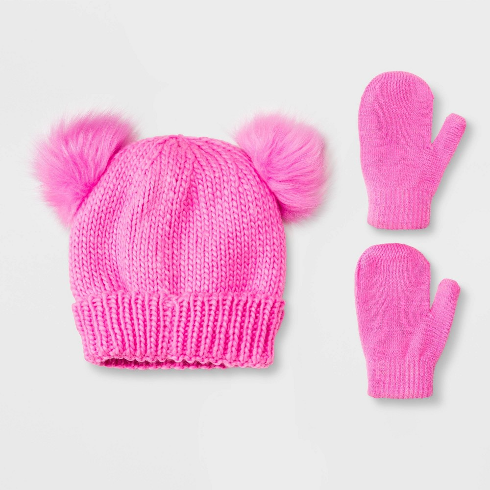Image of Toddler Girls' Knit Trapper & Magic Mittens Set - Cat & Jack Pink 2T-5T, Girl's