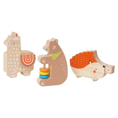 Manhattan Toy Musical Forest Trio 3 Piece Wooden Toy Set for Toddlers with Bear Rattle, Llama Clacker & Hedgehog Guiro