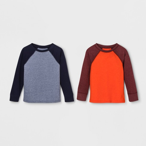 fd48baf22b7 Toddler Boys  2pk Long Sleeve Raglan T-Shirt - Cat   Jack™ Blue Orange