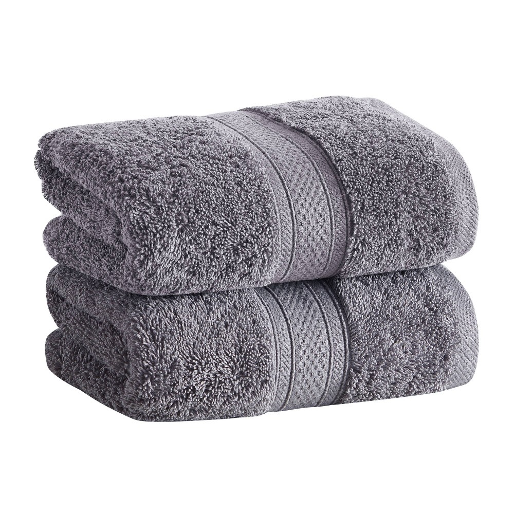 2pk Low Twist Hand Towel Set With Enhanced Microban Ash Gray Cannon