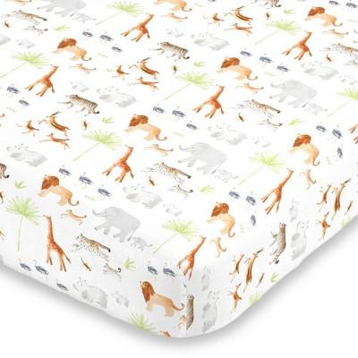 NoJo Watercolor Jungle Animals Crib Sheet Fitted Crib Sheet