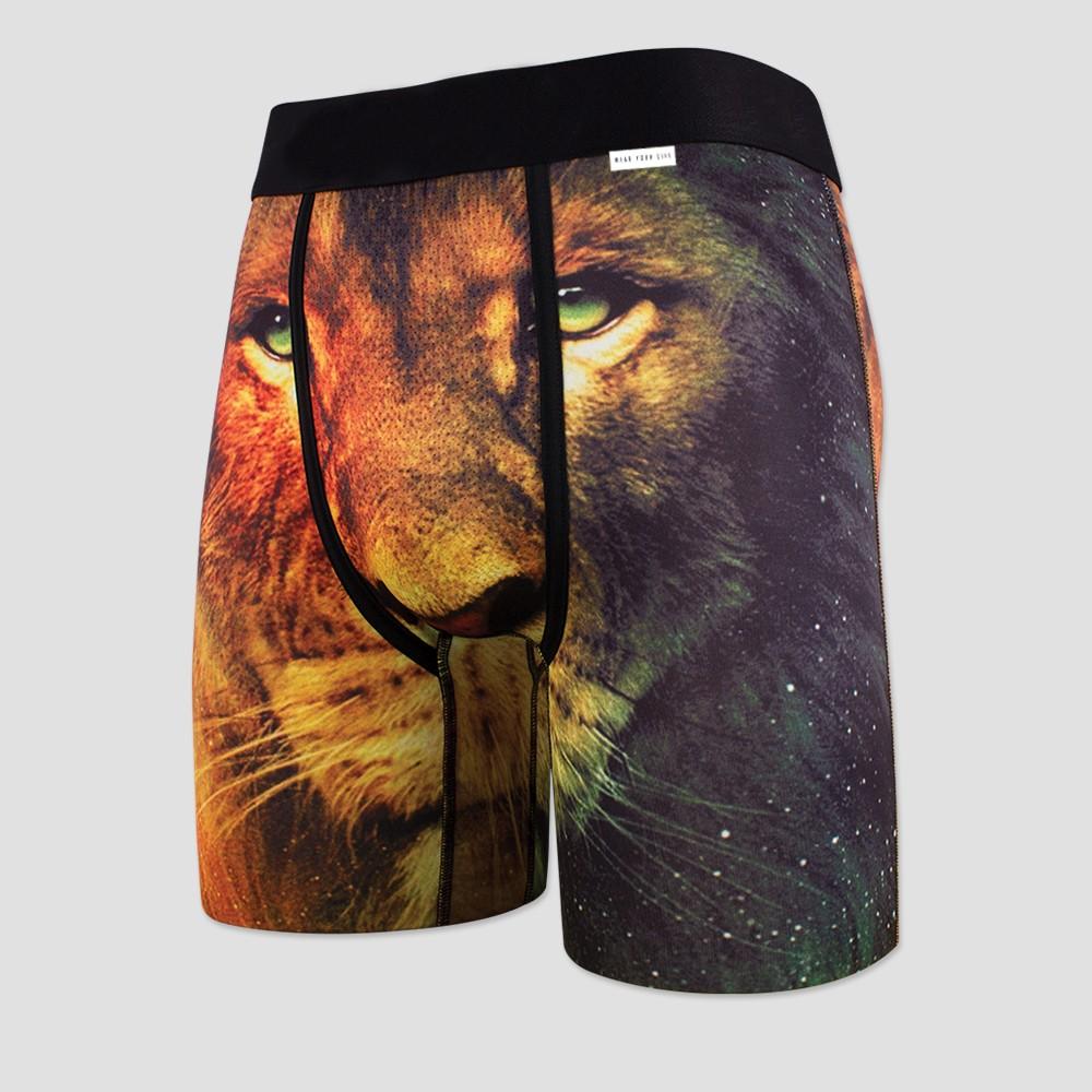 Wear Your Life Men's Galaxy Lion Boxer Briefs - Black L