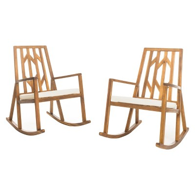 Nuna Set of 2 Acacia Wood Rocking Chair With Cushion - Off-White - Christopher Knight Home