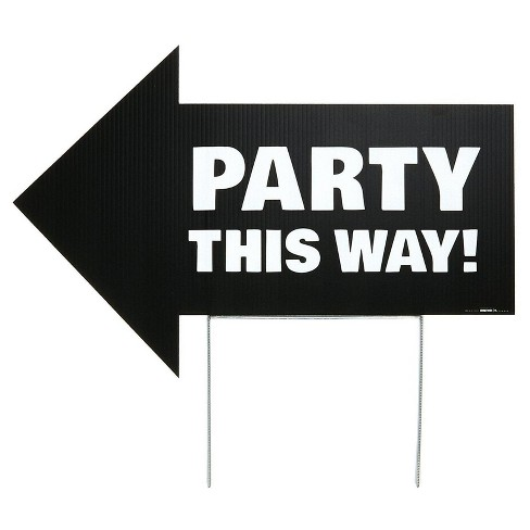 party this way yard sign black target