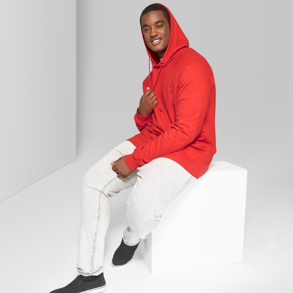 Men's Tall Long Sleeve Raw Edge French Terry Hooded Pullover Sweatshirt - Original Use Anthem Red LT, Orange