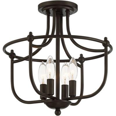 "Franklin Iron Works Industrial Rustic Ceiling Light Semi Flush Mount Fixture Bronze Metal 14"" Wide 4-Light House Bedroom Kitchen"