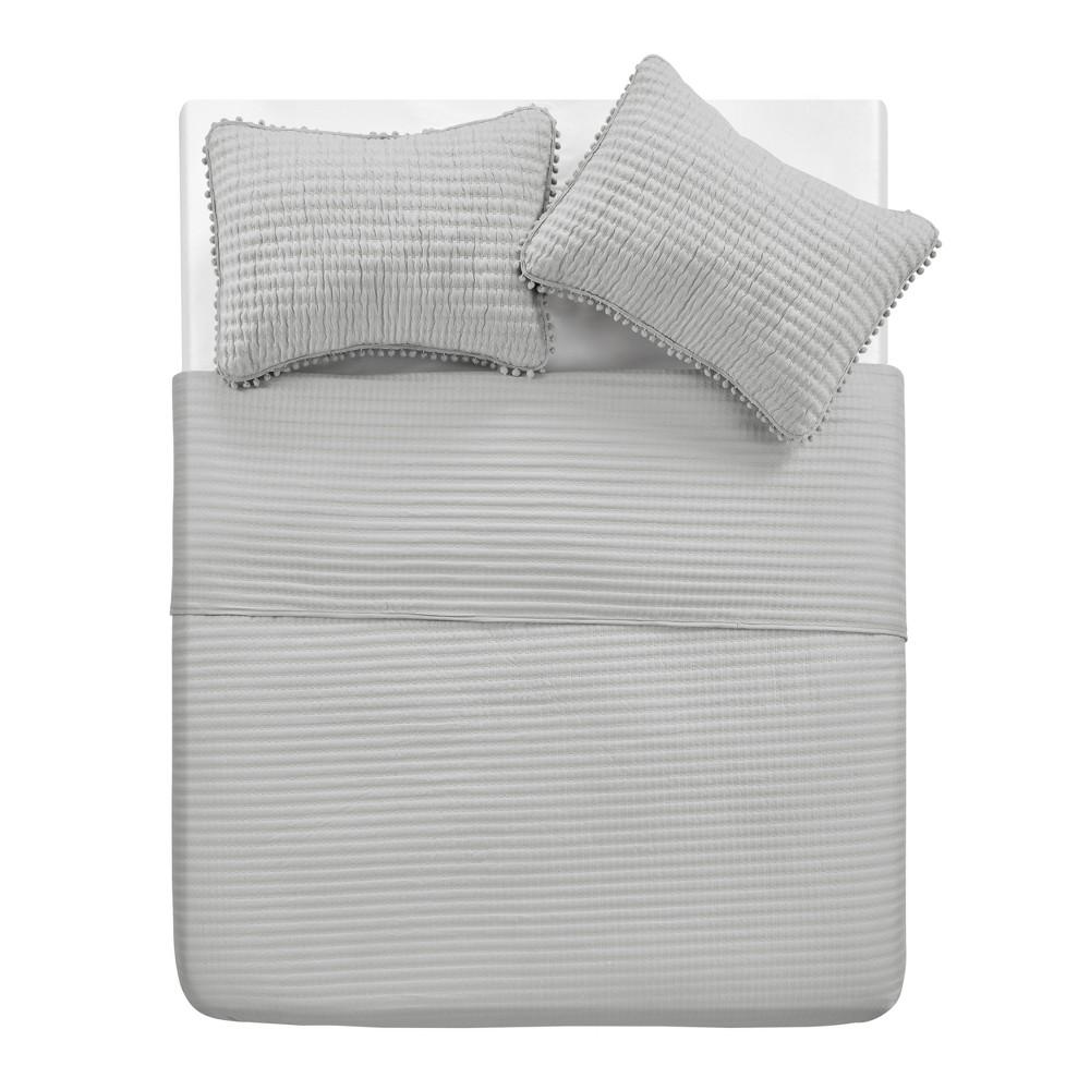 King 3pc Pom Pom Quilt Set Gray - Vcny Home