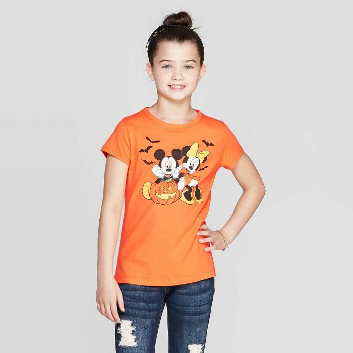 Girls' Disney Mickey Mouse & Minnie Mouse Pumpkin Short Sleeve T-Shirt - Orange - image 1 of 3