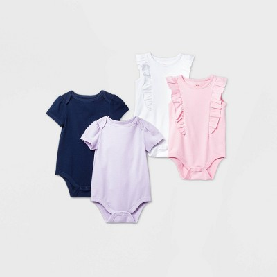 Baby Girls' 4pk Short Sleeve Bodysuit - Cat & Jack™ Blue 6-9M