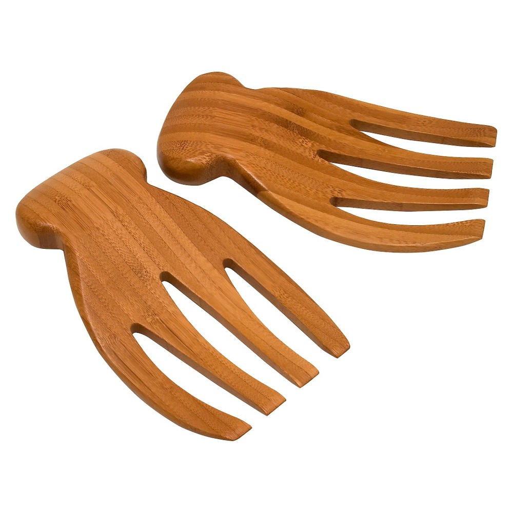 Image of Lipper Bamboo Salad Hands With Knob Handles, Brown