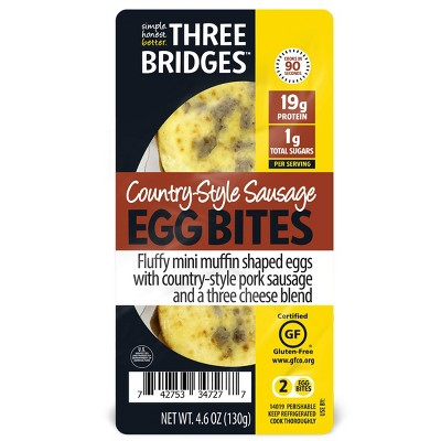 Three Bridges Country-Style Sausage Egg Bites - 4.6oz