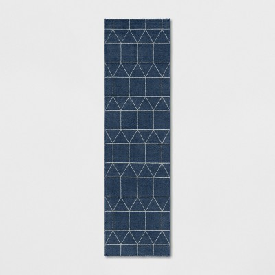 """1'10""""X7' Elle Linear Grid Woven Runner Rug Navy - Project 62™"""