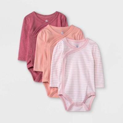 Baby Girls' 3pk Basic Long Sleeve Side Snap Bodysuit - Cloud Island™ Pink 3-6M
