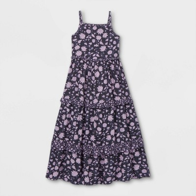 Girls' Tiered Woven Maxi Sleeveless Dress - Cat & Jack™ Navy