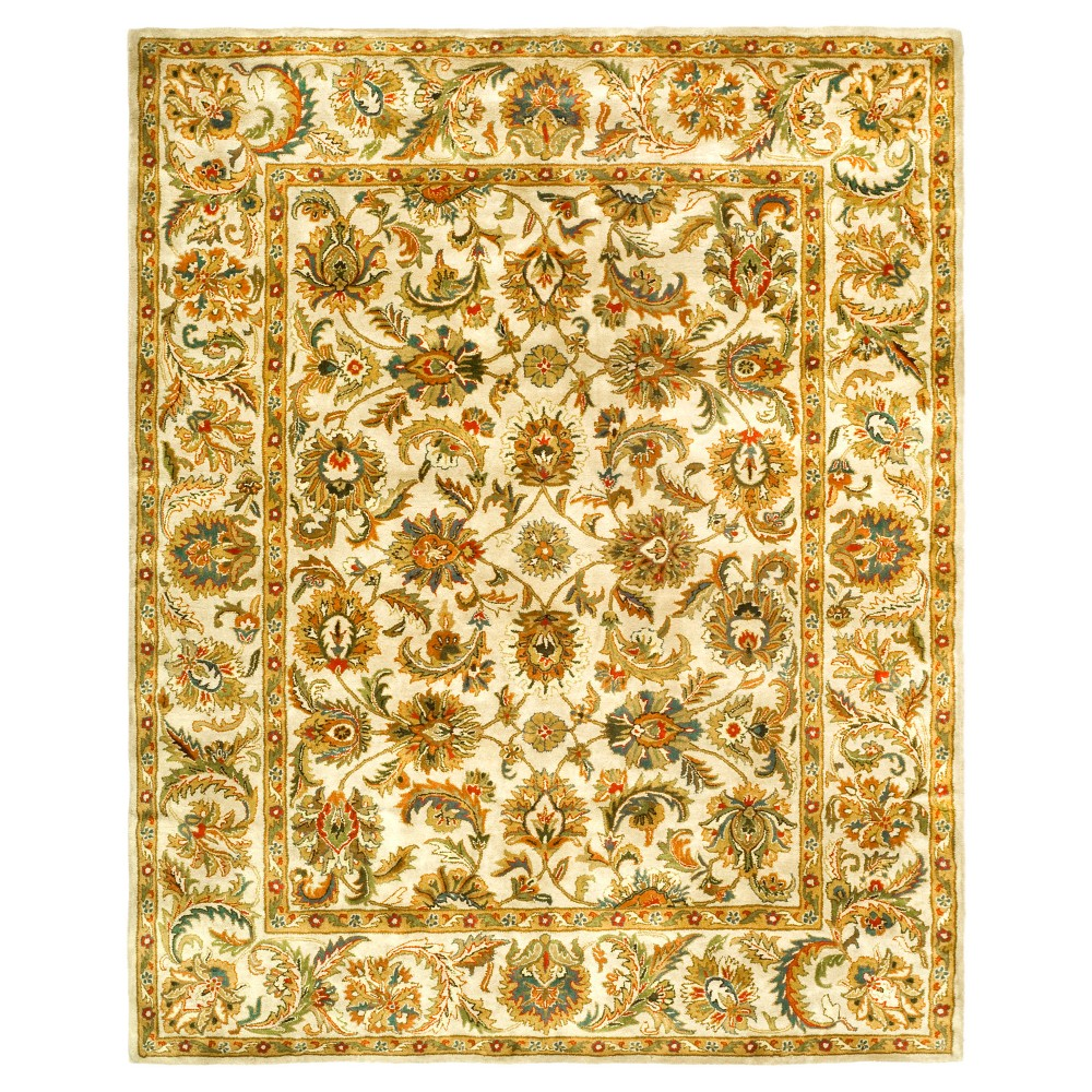 Ivory Floral Tufted Area Rug 9'6