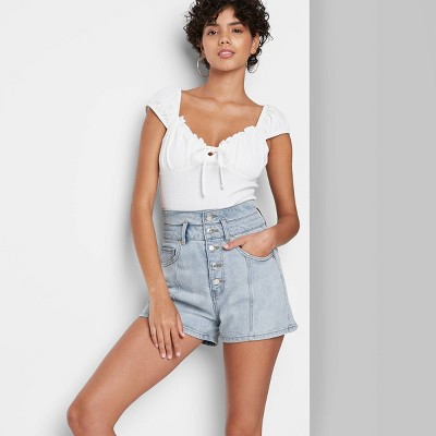 Women's Super-High Rise Button-Down Jean Shorts - Wild Fable™