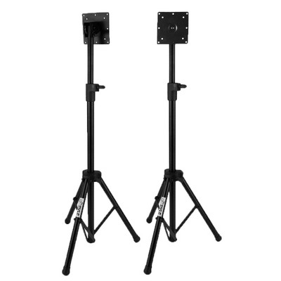 Pyle Portable Adjustable Height Tripod Flat Panel TV Screen and Video Monitor Display Mount Stand for up to 32 Inch Televisions, Stand Only (2 Pack)