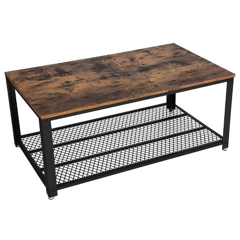 Metal Frame Coffee Table With Wooden Top And Mesh Bottom Shelf Brown And Black Benzara Target
