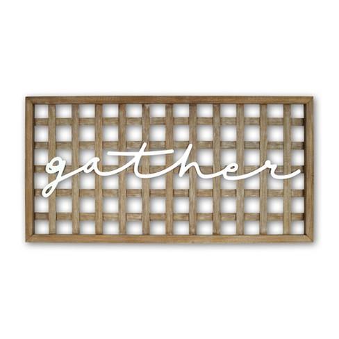 'Gather' Wall Sign Wood Panel Brown/White - Prinz - image 1 of 3