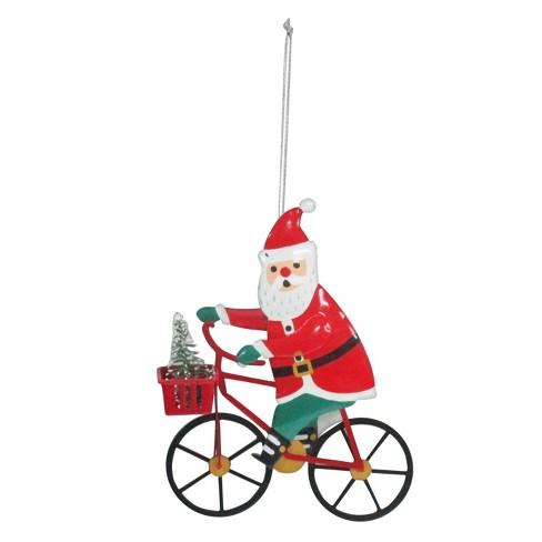 - Metal Santa Riding Bicycle Christmas Ornament - Wondershop™ : Target
