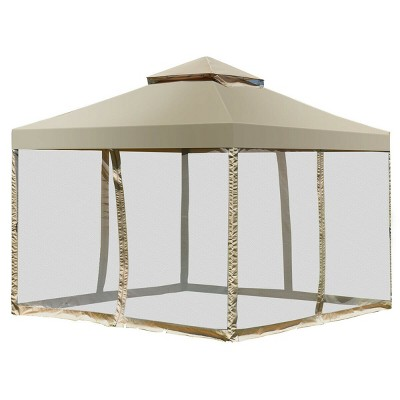 Costway Outdoor 2-Tier 10'x10' Gazebo Canopy Shelter Awning Tent Patio Garden Screw-free structure Brown