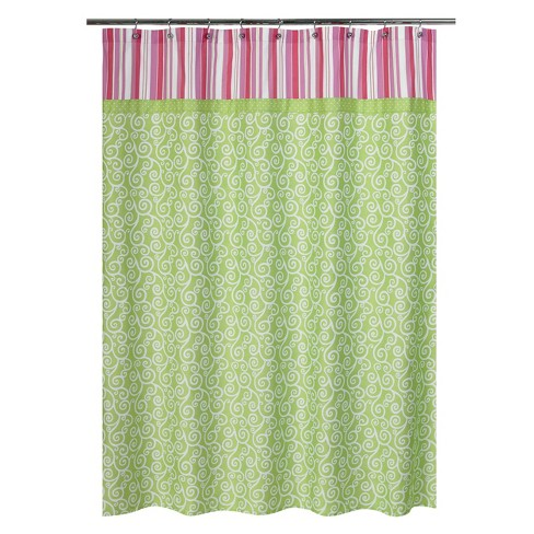 Olivia Shower Curtain Green/Pink - Sweet Jojo® - image 1 of 1