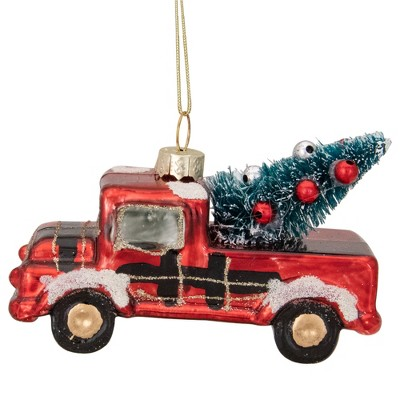 """Northlight 4"""" Retro Red Country Truck with Tree Hanging Christmas Ornament"""