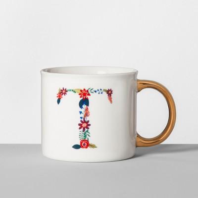 Monogrammed Porcelain Floral Mug T 16oz White/Gold - Opalhouse™