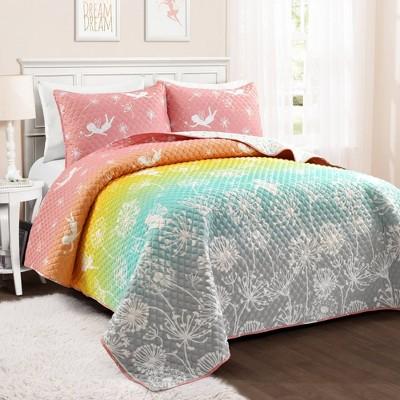 Make A Wish Dandelion Fairy Ombre Quilt Pastel Rainbow Set - Lush Décor