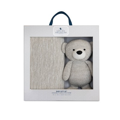 Living Textiles Bento Gift Set Knitted Gray Blanket + Bear