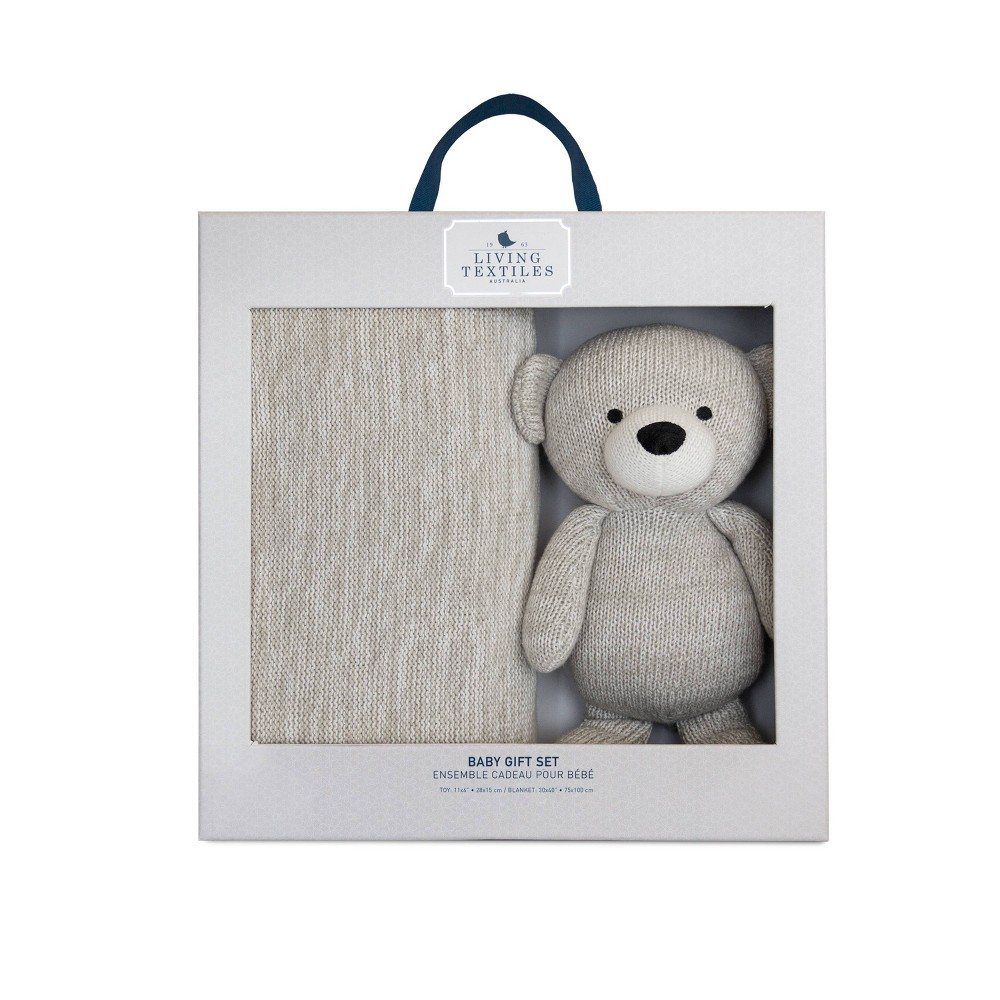 Image of Living Textiles Bento Gift Set Knitted Gray Blanket + Bear
