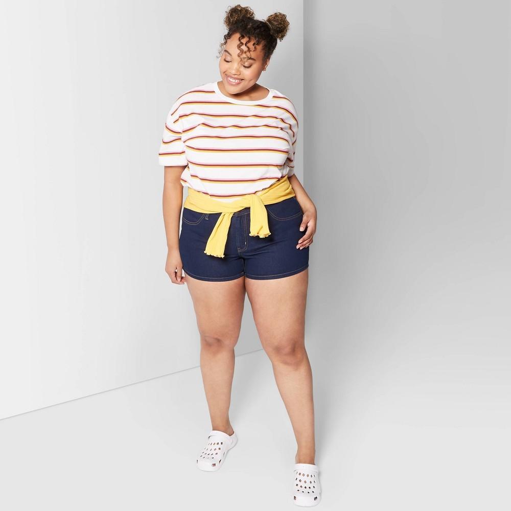 Women's Plus Size High-Rise Jean Shorts - Wild Fable Medium Blue 18W