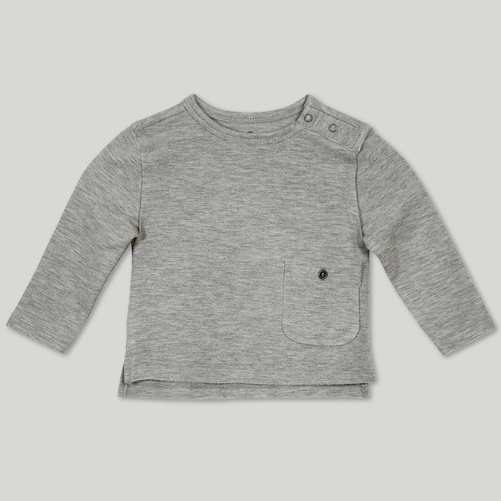 Image of Afton Street Baby Boys' French Terry Long Sleeve T-Shirt - Gray 0-3M, Boy's
